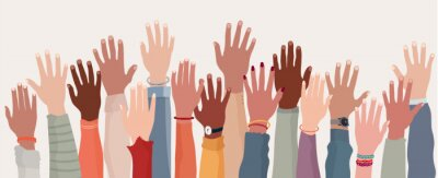 Sticker Group raised human arms and hands.Diversity multiethnic people. Racial equality. Men and women of different culture and nations. Coexistence harmony. Multicultural community integration