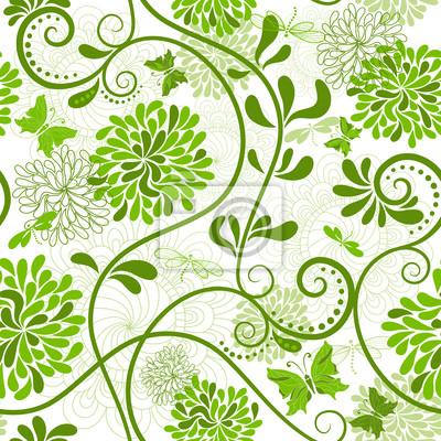 Grün-weißen Blumenmuster