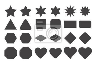 Sticker Grundform-Elemente mit scharfen und abgerundeten Kanten Vektor-Set.