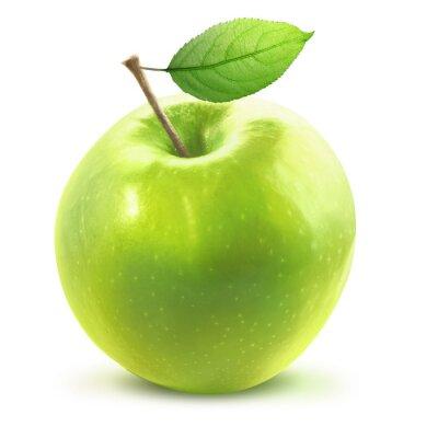 Sticker Grüne Apple und leafe mit Beschneidungspfad isoliert