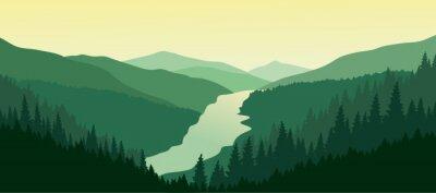 Sticker Grüne Berglandschaft mit dem Fluss im Tal.