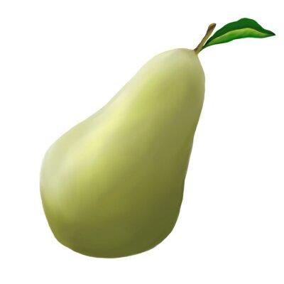 Sticker Grüne Birne auf einem weißen Hintergrund