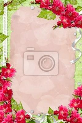 Grüne Frühjahr Hintergrund mit Karte, Blumen und Rahmen