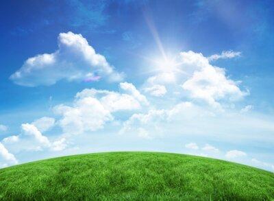 Sticker Grüne Hügel unter blauem Himmel