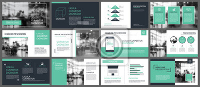Sticker Grüne Präsentation Vorlagen und Infografiken Elemente Hintergrund. Verwendung für Geschäftsjahresbericht, Flyer, Corporate Marketing, Broschüre, Werbung, Broschüre, moderner Stil.