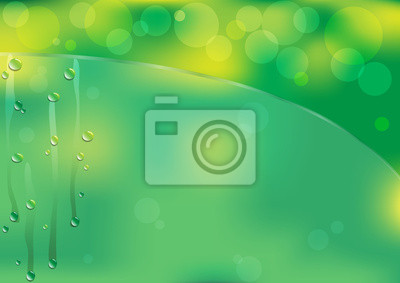 Grüner Hintergrund, Wassertropfen auf grünem Glas