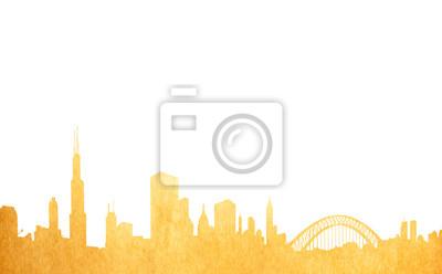 Grunge Bild der isolierten Stadtbild aus altem Papier