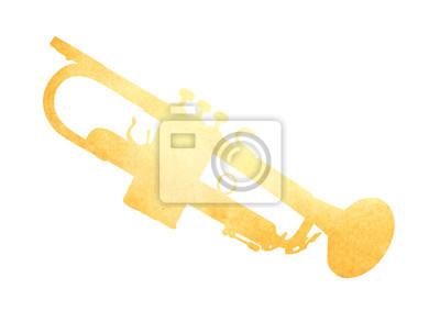 Grunge Bild der Trompete aus alten Papier isoliert