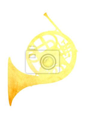Grunge Bild französisch Horn von Altpapier isoliert
