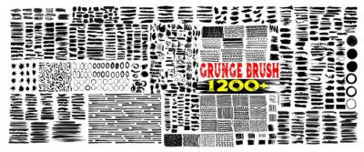 Sticker Grunge brush strokes. 1200+Brush strokes bundle. rectangle, square and round freehand drawings. Ink splatters, grungy painted lines, artistic design elements: circle, triangles. Vector paintbrush set.