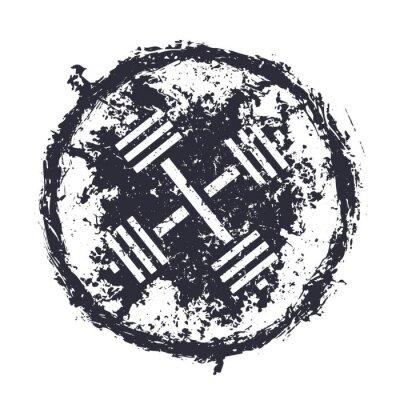 Sticker grunge emblem with crossed barbells vector illustration, eps10