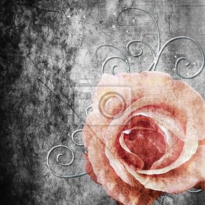 Grunge Hintergrund mit Rosen, Perlen und Wirbel (1 Satz)