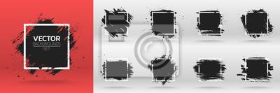 Sticker Grunge Hintergründe gesetzt. Pinsel schwarze Farbe Tinte Anschlag über quadratischen Rahmen. Vektor-Illustration
