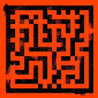 Grunge Labyrinth auf rot, Vektor-Illustration