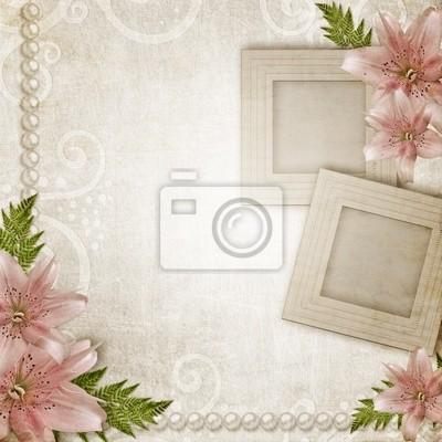 Grunge Papier Hintergrund mit rosa Lilie