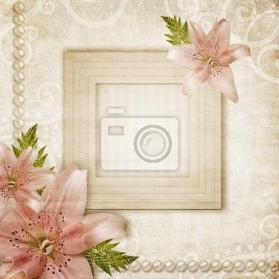 Grunge Papier Hintergrund mit rosa Lilie und Rahmen