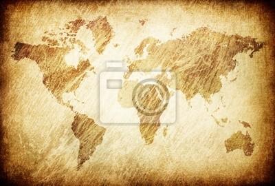 Grunge rieb Weltkarte Hintergrund.