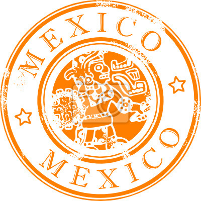 Grunge rubber stamp with the indian symbol, Mexico