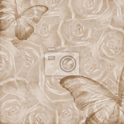 Grunge Schöne Rosen Hintergrund mit Schmetterling (1 Satz)