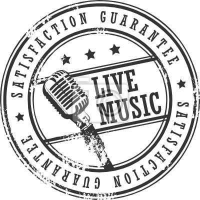 Grunge Stempel mit dem Wort Live-Musik geschrieben innen