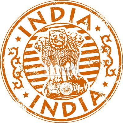 Grunge Stempel mit Indien Symbol und das Wort Indien