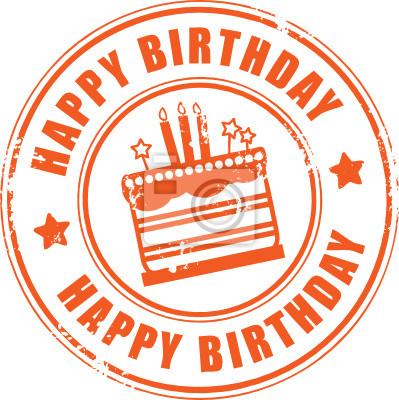 Grunge Stempel mit Kerzen, Kuchen und dem Text Alles Gute zum Geburtstag