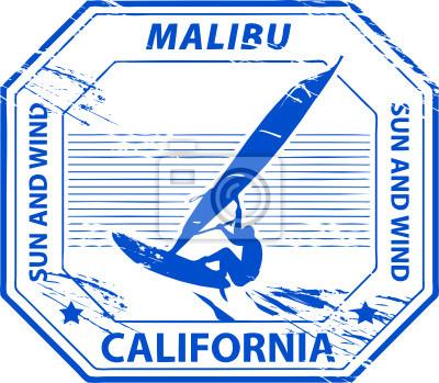 Grunge Stempel mit Namen von Malibu, Kalifornien, Vektor