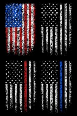 Sticker Grunge usa, police, firefighter flag vector design.