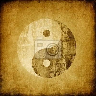 Grunge Yin Yang Symbol Hintergrund.
