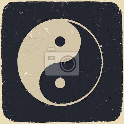 Grunge-Yin-Yang-Symbol Hintergrund. Vektor-Illustration, eps10.