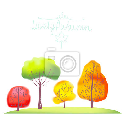 Gruppe der Bäume im Herbst