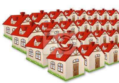Gruppe der viele Häuser