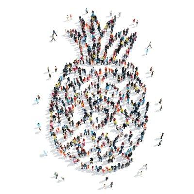 Sticker Gruppe Menschen Form Ananas