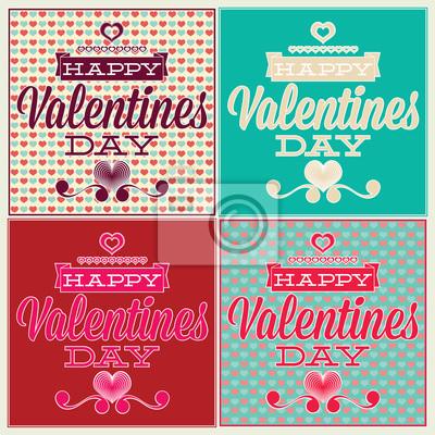 Grußkarte für Valentinstag. Set und nahtlose Muster
