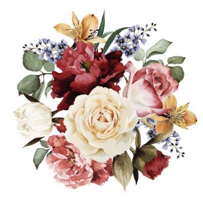 Sticker Grußkarte mit Rosen, Aquarell, kann als Einladung verwendet werden