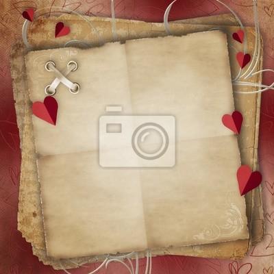 Grußkarte zu St. Valentinstag mit Herzen und Old Paper