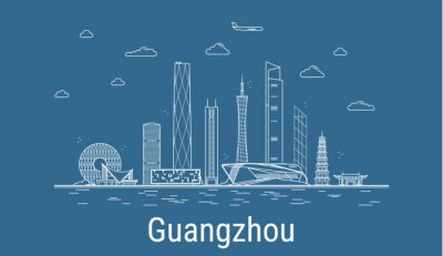Guangzhou city, Line Art Vector illustration with all famous buildings. Linear Banner with Showplace. Composition of Modern cityscape. Guangzhou buildings set.