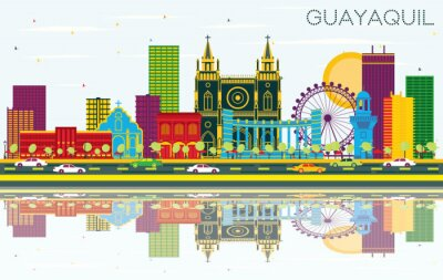 Guayaquil Ecuador City Skyline with Color Buildings, Blue Sky and Reflections.