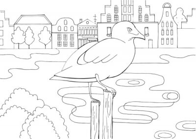 Gull Vector hand drawn landscape ith gull and old city Coloring