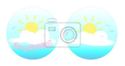 Guten Morgen Logo Ein Vektor Illustration Der Sonne Die