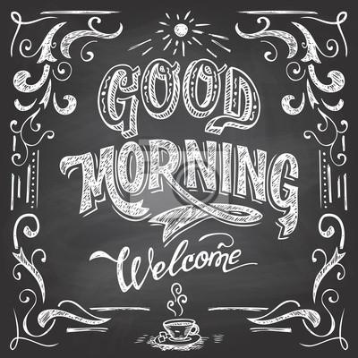 Guten Morgen Und Herzlich Willkommen Tafel Stil Cafe