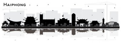Haiphong Vietnam City Skyline Silhouette with Black Buildings and Reflections Isolated on White.