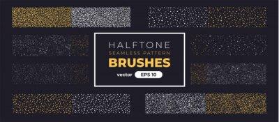 Sticker Halftone grain pattern brushes. Grunge noise texture set. Vector illustration eps10. Creative artistic brush collection. Basic kit. Ink paint strokes.