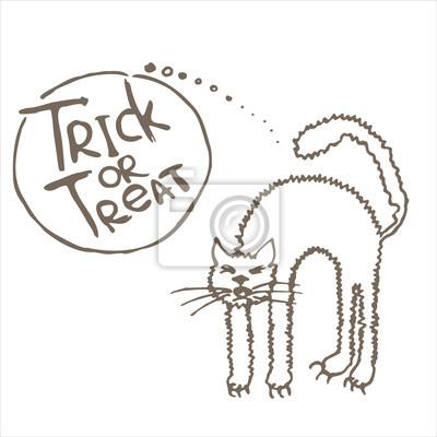Halloween illustration with black cat