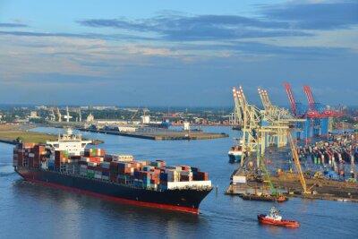 Sticker Hamburger Hafen, Containerschiff, Schlepper, Vorhafen, Elbe, Hamburg