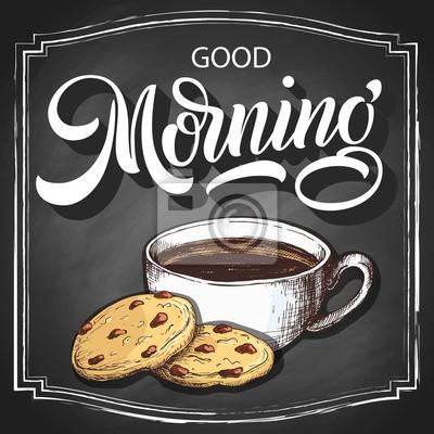 Hand Die Guten Morgen Auf Retro Schwarzem Tafelhintergrund