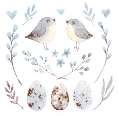 Hand drawing easter watercolor flying cartoon bird and eggs with leaves, branches and feathers. Watercolor art illustration.