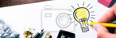 Sticker Hand Drawing Light Bulb On Paper - Bright Idea Concept