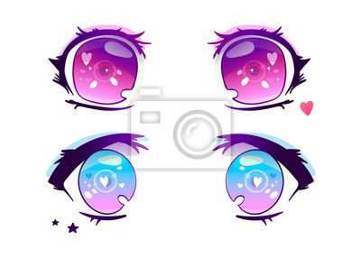 Hand drawn anime eyes. Colored vector set. All elements are isolated
