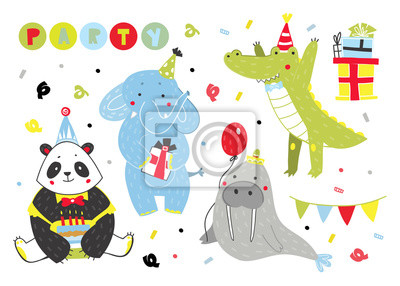 Hand drawn birthday party animals. Colored vector set. All elements are isolated